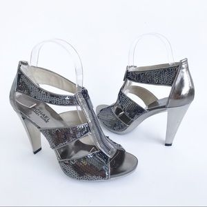 Michael Kors Berkley Silver Metallic Zip Sandal